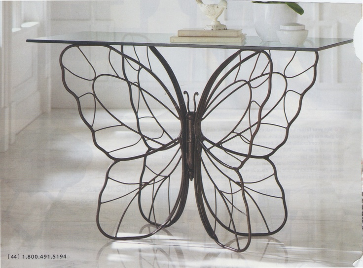 Lovely Butterfly Cast Iron Glass Top Table