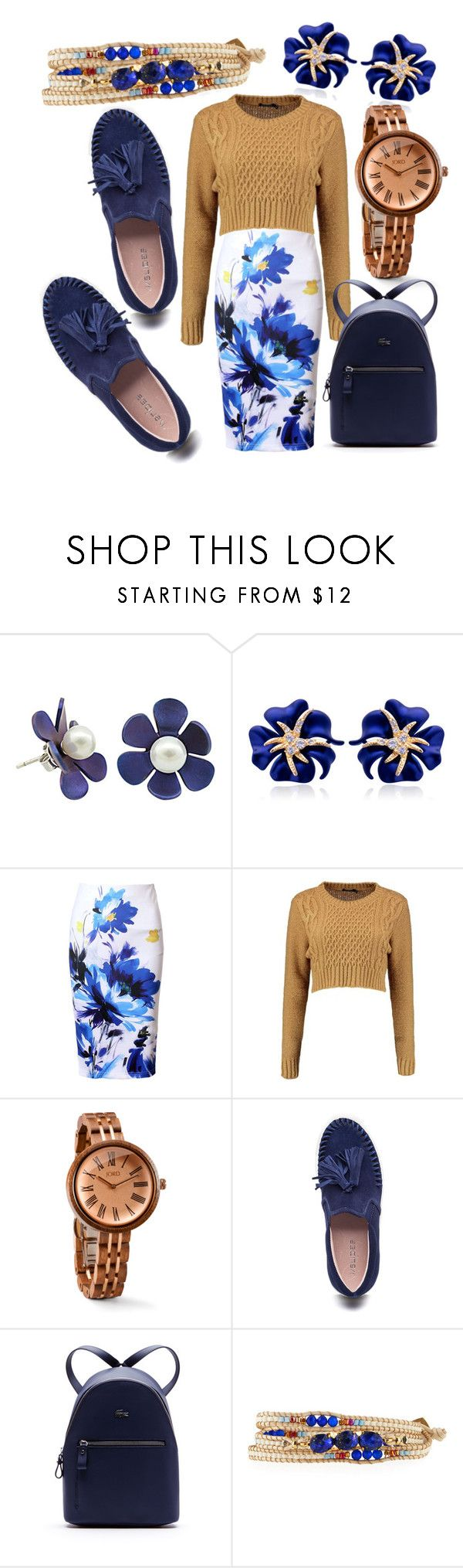 """""""Navy and Gold Business dress Jord Wood Watch"""" by donutsanddrama on Polyvore featuring WithChic, J/Slides, Lacoste and NAKAMOL"""
