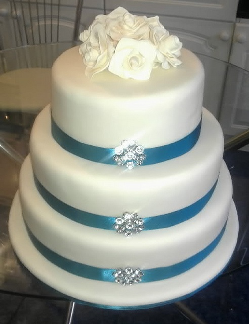 3 Tier Wedding Cake With Teal Decoration For You Ashley