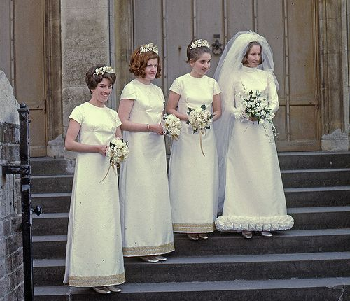 1968 The ruffle on the bottom of the bride's dress is rather.....different.