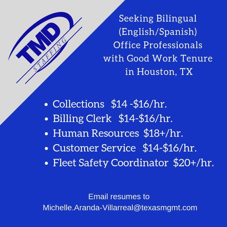 TMD in Houston, TX is hiring bilingual office