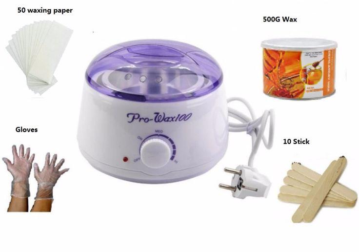 Epilator hair removal - Warmer Wax Heater + Paraffin Wax + 50 waxing paper strips + gloves + 10 Waxing Spatulas