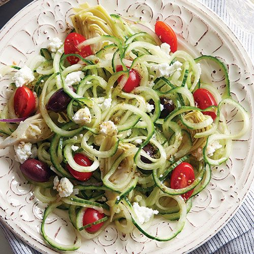 Greek Cucumber Noodle Salad by Pampered Chef® // Classic Greek Salad gets a new spin with spiralized cucumber!