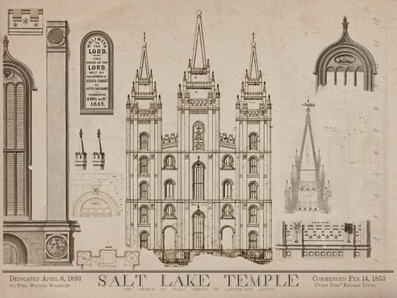 SLC TEMPLE DRAWINGS This beautiful archival quality print of the various drawings of the 1853 Salt Lake Temple blueprints is a remarkable work of art. Taken from the actual Truman O. Angell drawings it shows the various elements of design that were considered for the Salt Lake City Temple. It is printed on heavy stock acid free museum art paper sized 18in X 24in or 11in X 14in fits in standard frame  This piece is offered ready to frame in two sizes. PLEASE SUPPORT NAUVOO: The item above and…