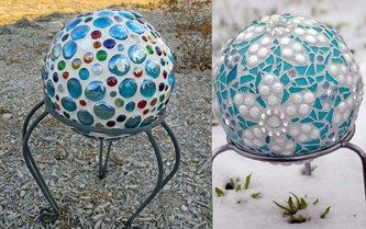 DIY Gazing Ball Designs -- What a fantastic recycling or up-cycling project from Penn State Extension. Make a garden gazing ball from a bowling ball! I love it! And, it isn't fragile or breakable like so many of the glass versions. Now, off to find an old bowling ball!