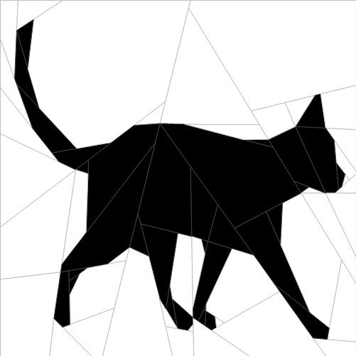 "Silhouette Cat #8 10""(26 cm) Paper Pieced patterns quiltartdesigns.blogspot.com"