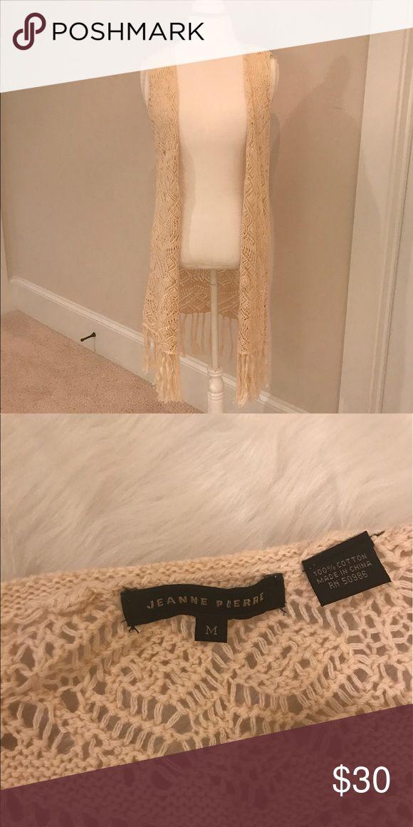 JEANNE PIERRE Crochet Fringe Vest This BOHO fringe vest is a must for the summer! Size Medium. VGUC JEANNE PIERRE Tops