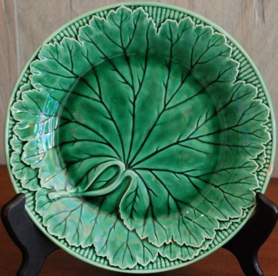 Antique English Wedgewood Majolica Leaf Plate Quot Glass