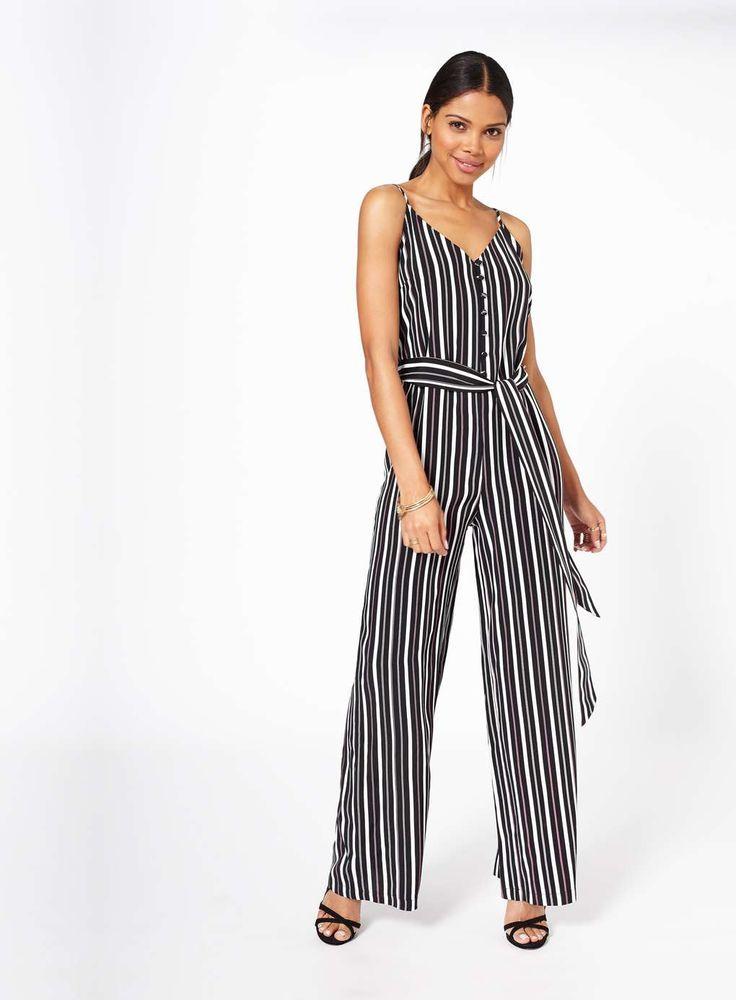 Stripe Button Front Jumpsuit - Playsuits & Jumpsuits - Clothing - Miss Selfridge @tebatsomajane