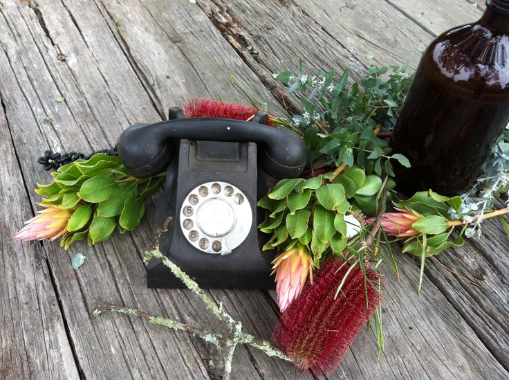 Wildflowers and vintage technology collide in this novel table setting