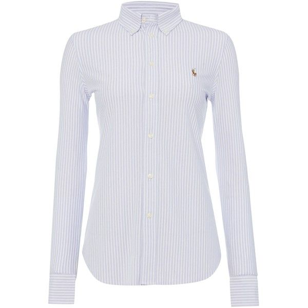 Polo Ralph Lauren Heidi oxford stretch shirt ($135) ❤ liked on Polyvore featuring tops, blue, women, oxford shirt, blue shirt, cotton oxford shirt, long sleeve woven shirt and woven shirt