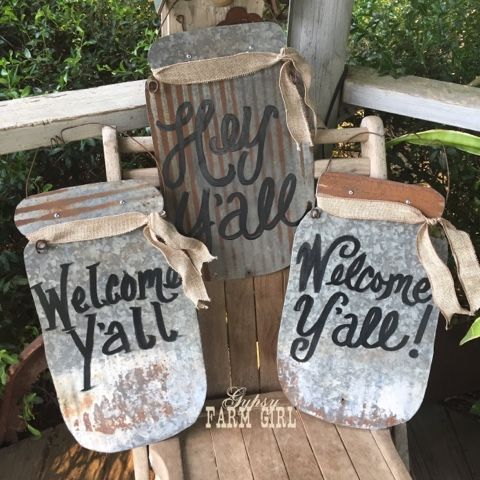 Hey Y'all! I've been having fun creating these rustic tin signs recently and I thought I would share some tips on how I cut out the tin sha...