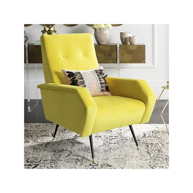 Safavieh Aida Velvet Accent Chair, Yellow