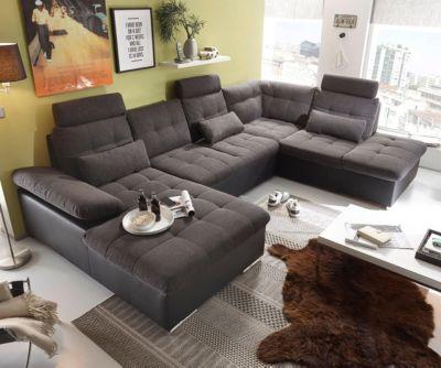 Couch Jerrica Grau Schwarz 325x220 Cm Bettkasten Schlaffunktion Wohnlandschaft Jetzt Bestellen Unter Moebelladendirektde Wohnzimmer Sofas