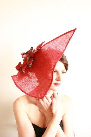 "Natalie Chan Couture millinery ""Caliente"", red sinamay with wired butterflies! x"