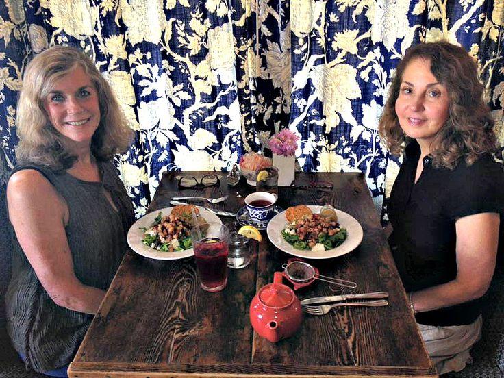 Gail and Anita enjoying our chickpea salad.
