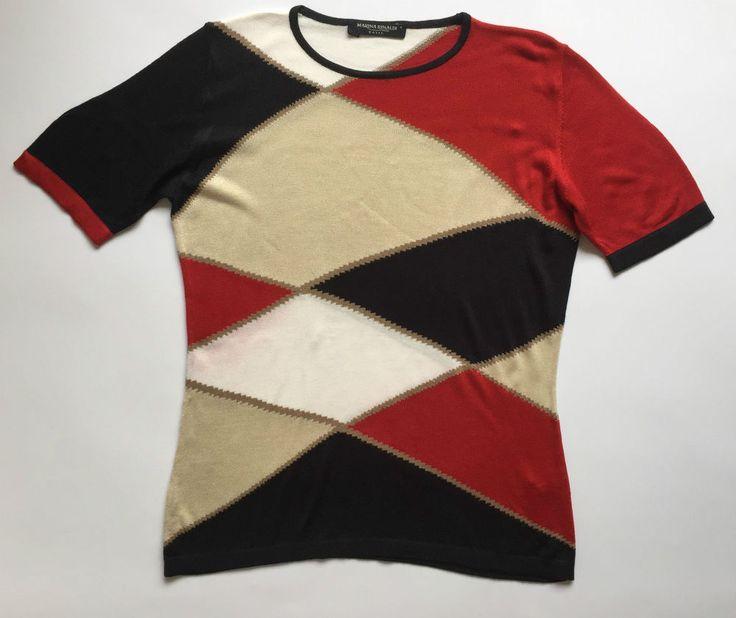 Marina Rinaldi maglia maglietta top manica corta size S tg 46 48 donna rosso blu