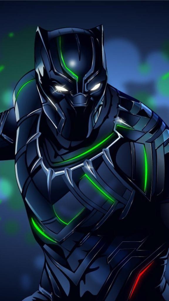 Cool Iphone Wallpapers Iphone7 Iphone8 Black Panther Awesome Pahlawan Marvel Karya Seni 3d Kartun