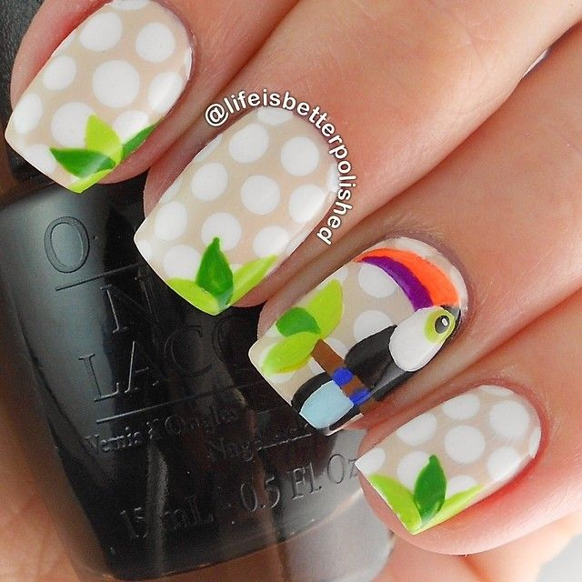 Nails of the Day: Cute Toucan from Kate Spade