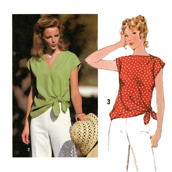 1970s Easy Pullover Tops Pattern Simplicity 8587 Bust 38 Womens Vintage Sewing Pattern Misses Tie Waist Summer Blouse Shirt Tops