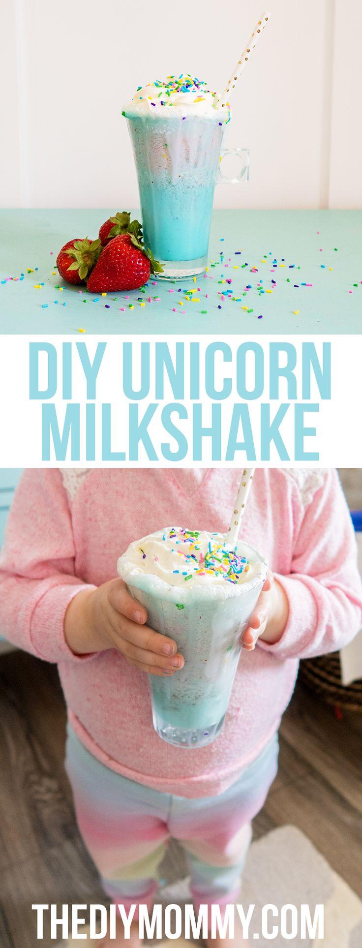 So easy and fun! DIY unicorn milkshake recipe with video tutorial