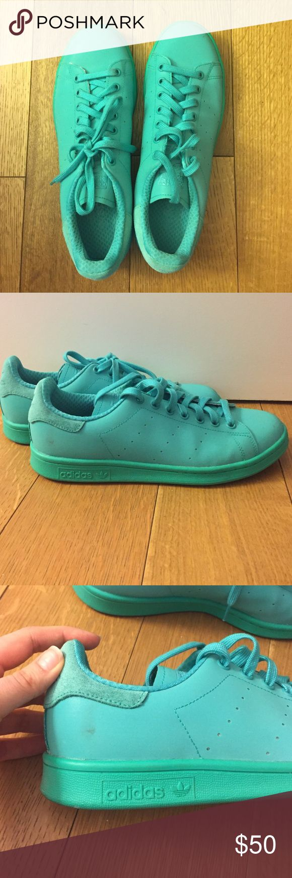 Adidas Adicolor Stan Smith sneakers Barely worn aqua color Stan Smiths! They are men's size 8 which fits women's 9.5 / 10. There is a small spot on the left shoe, see photo. Adidas Shoes Sneakers
