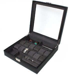"Large Valet Single Level Black Leather XL Compartments Watches Jewelry Glass Window Tech Swiss. $99.95. XL Wide Compartments to Hold 12 Large Watches (Fits Watch Cases Up To 58mm. Exceptional Quality Genuine Leather Case in Black with Glass Inlayed Lid. Valet Case Dimensions: 15 1/2"" L x 15 1/2"" W x 4"" H. Eliminate Clutter with this Multi-Functional Valet. Valet Single Level Large Leather Case with XL Compartments for 12 Watches, Jewelry, Glasses. Save 38% Off!"