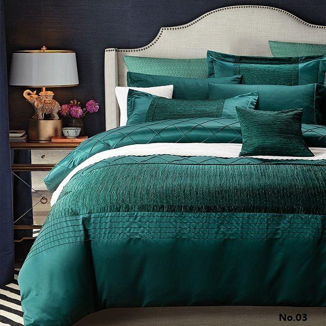 Luxury designer ensemble de literie couette housse de couette bleu vert couvre coton draps de soie linge de lit complet reine roi taille double(China (Mainland))