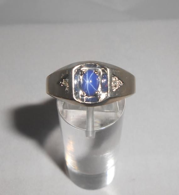 Star Sapphire Ring Gents Ring 10k Gold Ring Men White Gold Ring Diamond Accent Mens Ring Mens Gift Blue Sapphire Ring Star Sapphire Ring Mens Gold Rings White Gold Rings