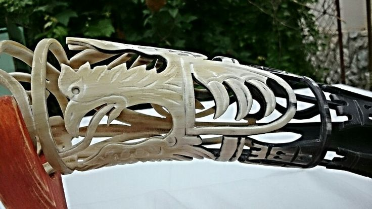 Hungarian gray cattle horn, horn decorated historic Hungarian coat of arms