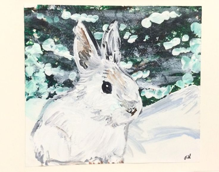 Rabbit Hand Painted Holiday Card, Christmas or Winter, Showshoe Hare, cute white…