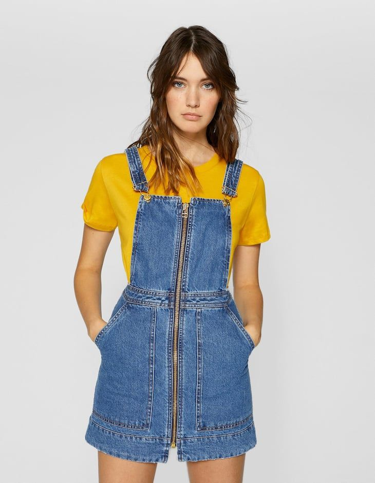 dfd7e91e335 Zip-up denim pinafore dress - null