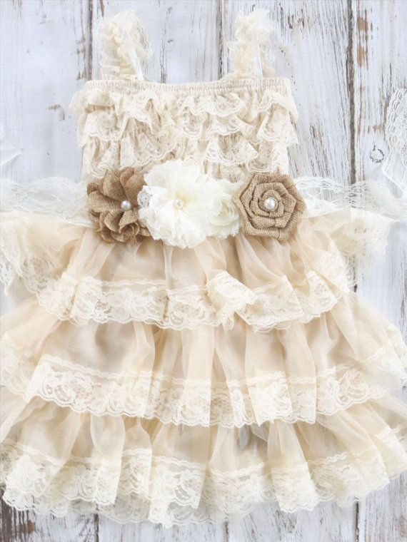 Burlap And Lace Flower Girl Dress-Country Chic by CountryCoutureCo
