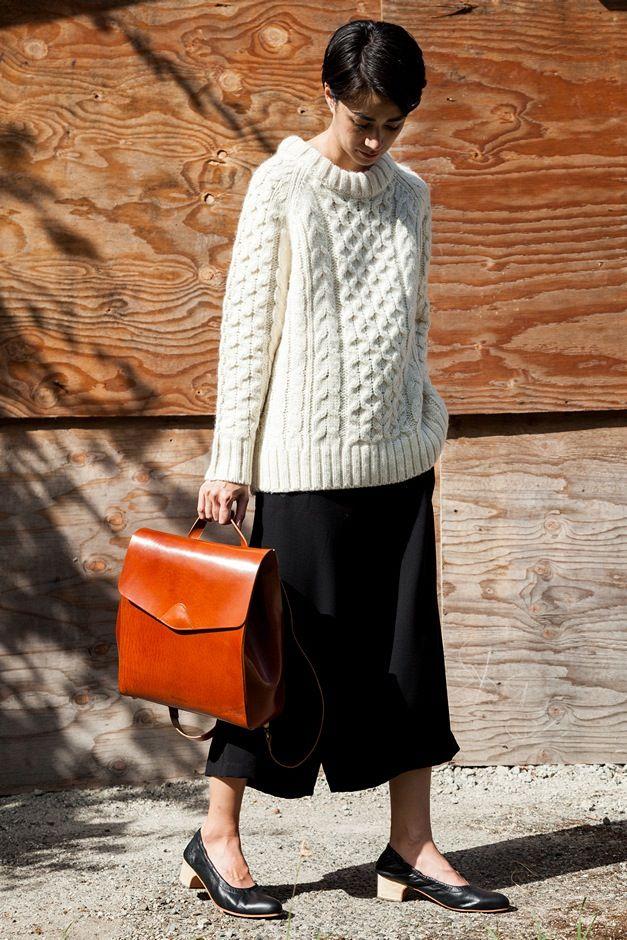 Apiece Apart Fisherman Sweater, Shaina Mote Gion Pant, Rachel Comey Calder Shoe, Vere Verto Macta Backpack