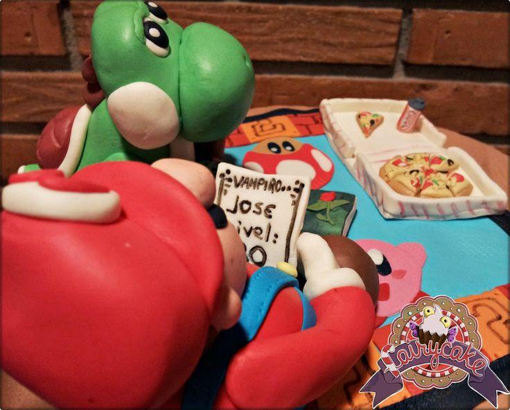 Tarta #Yoshi y #Mario jugando a Rol, Vampiro la Mascarada. #Nintendo