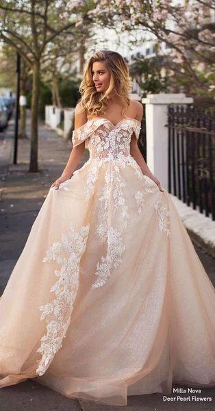 Schulterfreies Ballkleid, langes Abendkleid mit Applikationen, Partykleid – shuiruya …   – wedding dresses