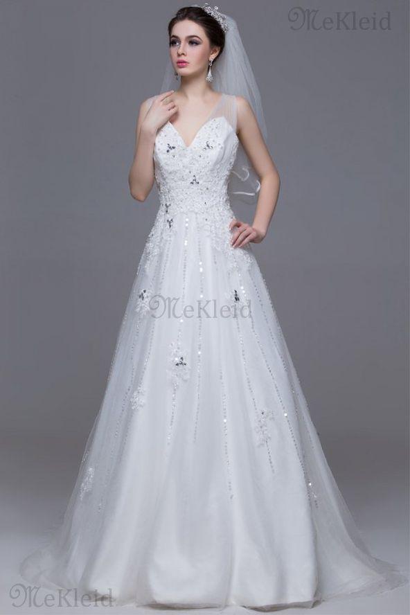 Prinzessin Tüll Sweep Zug ärmelloses Brautkleid mit V-Ausschnitt mit Bordüre - Bild 1