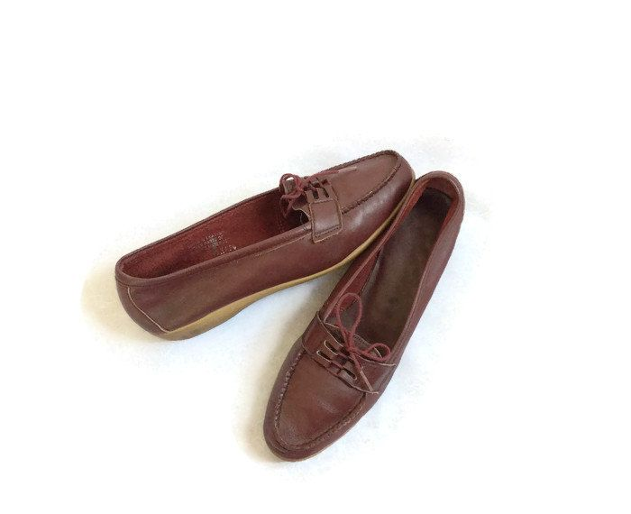 Womens Oxford Shoes Vintage Oxfords Lace Up Flats Burgundy Shoes 70s Flats Rubber Soles Leather Loafers Brogues Maroon Shoes Size 9 by GoodLuxeVintage on Etsy