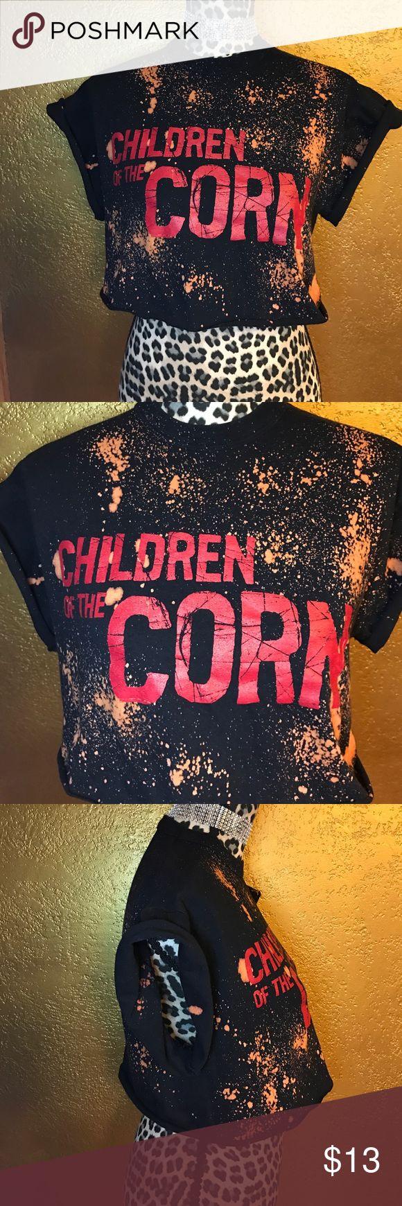 Children of the corn crop In wonderful condition custom made black acid washed children of the corn crop top❌PRICE IS FIRM❌ Tops Crop Tops