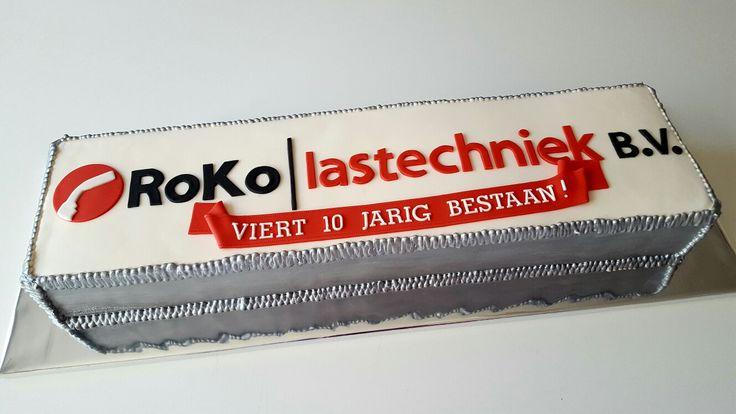 Taart voor het 10-jarig bestaan van Roko Lastechniek