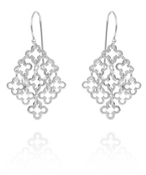 Small silver Talitha drop earrings from the Dinny Hall collection.