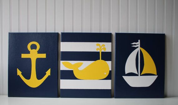 Nautical Nursery, Nautical Painting, Anchor, Sailboat Nursery, Navy Yellow Nautical, Navy Yellow Nursery, Nautical Bathroom, Nautical Decor