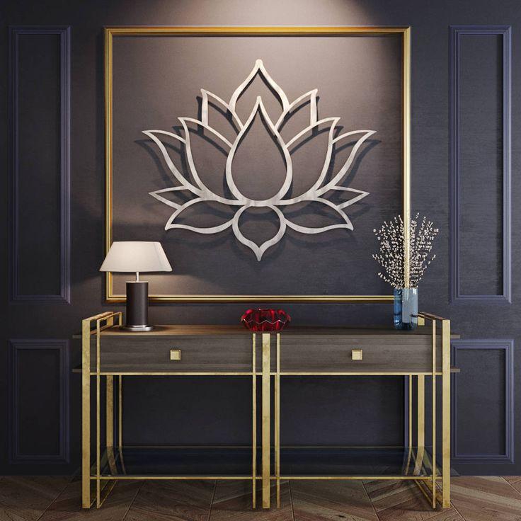 "Lotus Flower Metal Wall Art, Metal Flower Wall Art, Large Metal Wall Sculpture, Contemporary Metal Wall Art, Silver Wall  48"" x 41"" by ArteAndMetal on Etsy"