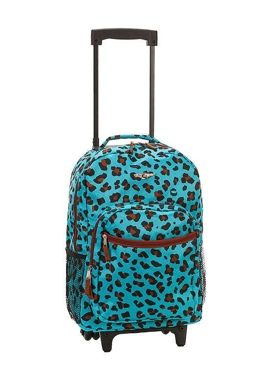 Backpack Rolling Rockland School Bag Carry On 17 In Bookbag Blue Leopard Wheeled