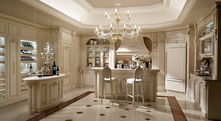 Villa in Moscow, kitchen in white laquered oak with golden details