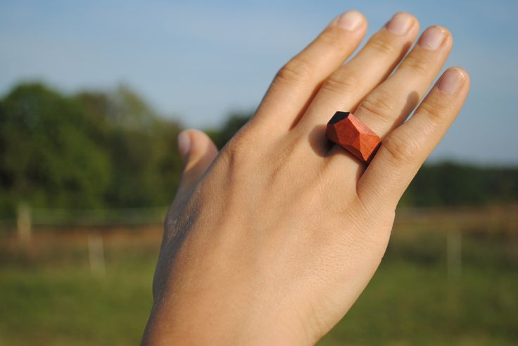 Geometric rosewood ring, exotic wood ring, original natural jewelry by WowodesignShop on Etsy https://www.etsy.com/listing/477224010/geometric-rosewood-ring-exotic-wood-ring