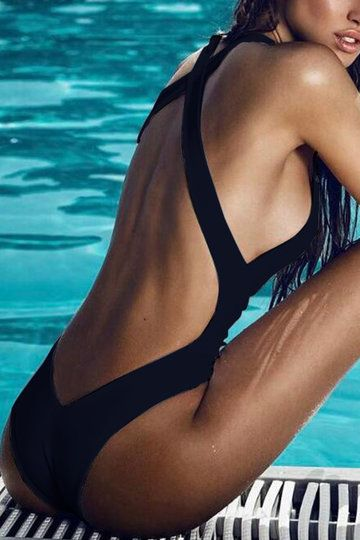 Black Sexy Backless Swimwear from mobile - US$11.95 -YOINS