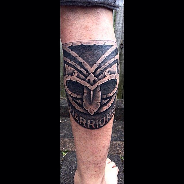 Rock solid Warriors calf tattoo #CalfTattoo #Tattoo #Warriors #WarriorsForever #logo