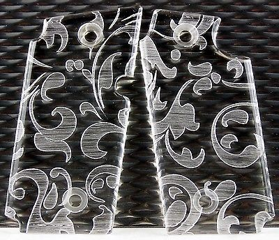 Sig Sauer P238 Acrylic Custom SPD Grips Engraved Floral Scroll Clear