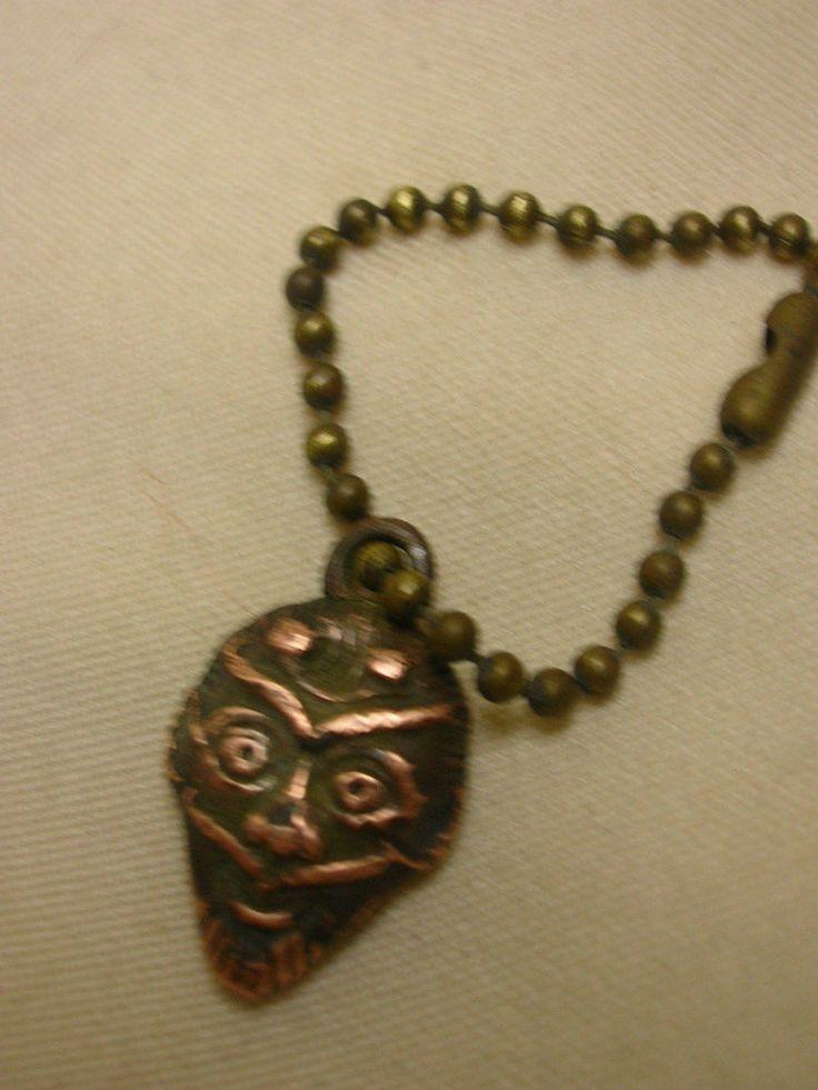 Vintage Vending Machine Keychain Charm Brass Covered Plastic Tribal Warrior #NotMarked